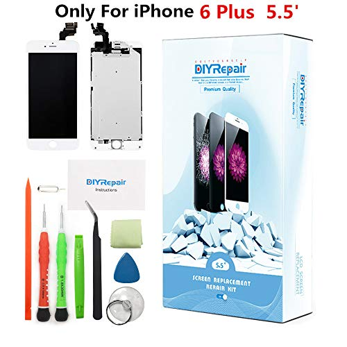 Premium Screen Replacement for iPhone 6 Plus 5.5- LCD Complete Display Touch Digitizer Assembly With Earpiece, Front Camera, Proximity Sensor,Tempered Glass,Tools,Instruction, only For 6G Plus(White)