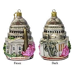 Kurt Adler C4110 Washington D.C. Glass Cityscape Ornament,...