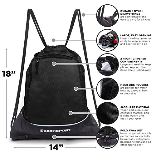 9e0afa49dd7b Drawstring Bag with Mesh Net - Perfect Sackpack with Ball Net for ...