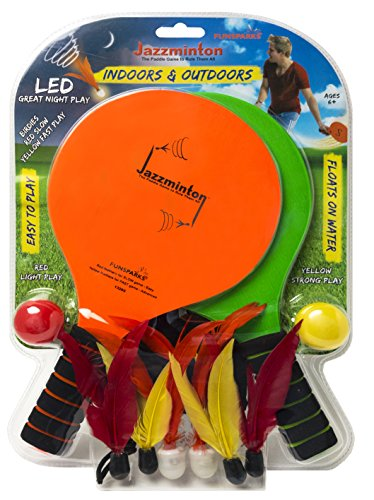 Jazzminton Deluxe LED 3 in 1 Paddle Ball Game – Indoor/Outdoor Game For Kids, Teens and Adults