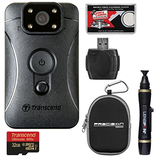 Transcend DrivePro Body 10 1080p HD Video Camera Camcorder with 32GB Card + Case + Lenspen + Kit by Transcend