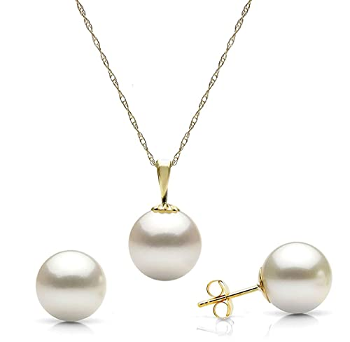 14K White or Yellow Gold White Freshwater Cultured Pearl Stud Earrings and Pendant Necklace Set, 18 Choice of Pearl Sizes