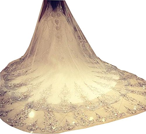 Nina Cathedral Bridal Veils Lace Edge 3 M Long Crystals Wedding Veil (Ivory) by Nina