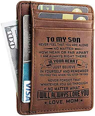 6cbad4f86595 Mens Minimalist Wallets Gift for Son From Mom Slim Cowhide RFID Front  Pocket Wallet