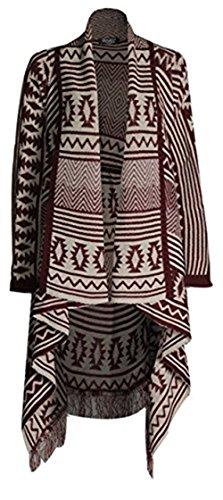 Ladies rayas Diamond Aztec cardigan Wine Frill Friendz cascada Imprimir tricotado Trendz 5qYzw0f