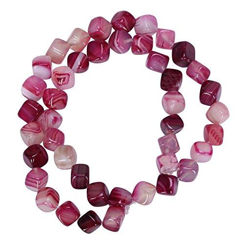 Top Quality Natural Fuchsia Stripe Agate Gemstone 8mm Cube Loose Stone Beads 15.5