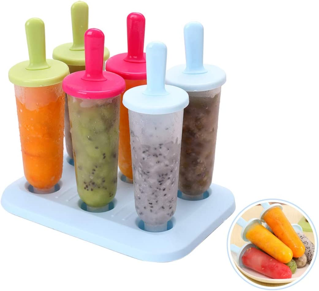 Homemade Popsicle Molds for Kids Popsicle Maker, Easy Release Ice Pop Maker with 6 Reusable Ice Cream Molds(Mixed Large)