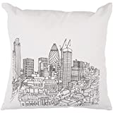 "Diva At Home 22"" Winter White and Black City Skyline Printed Square Throw Pillow - Down Fillers"