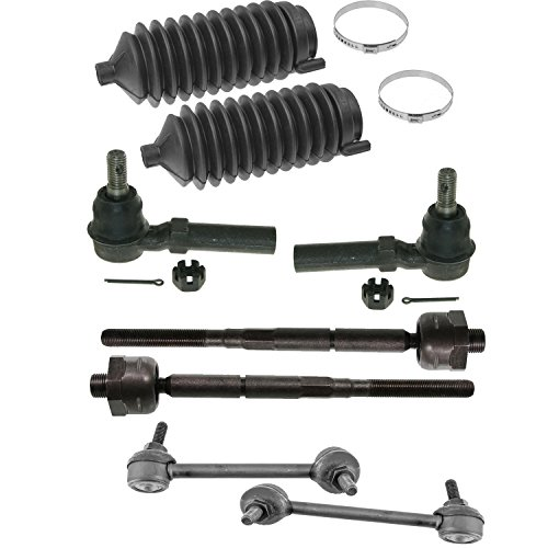 Complete 8pc Outer Inner Tie Rod + Rack Boot and Front Sway Bar Link Kit for 4wd + 2WD Torsion Bar 2004-2005 Chevy Colorado - GMC Canyon 4x4 + 2WD Torsion Bar