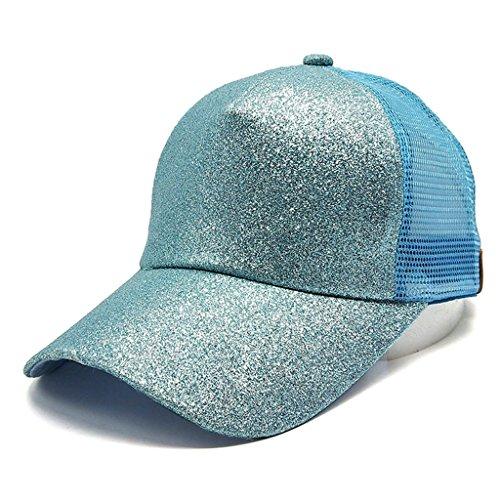 Baseball caps chaofanjiancai Women Plain Hats Sequins Snapback Adjustable Ponytail Sun Caps Summer (Adjustable, Bule)