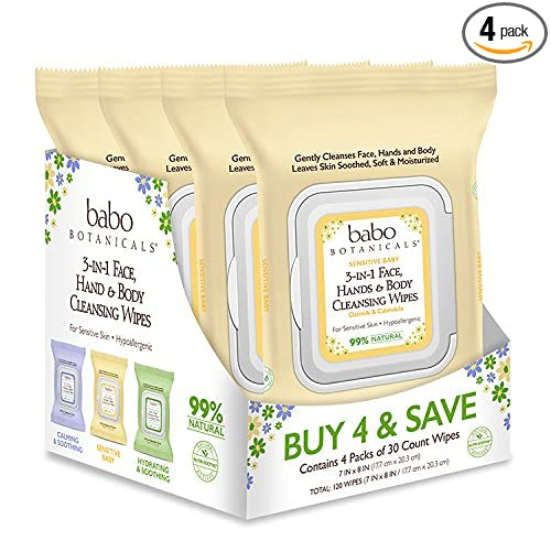 Babo Botanicals 3-in-1 Moisturizing Sensitive Baby Wipes for Face, Hands and Body