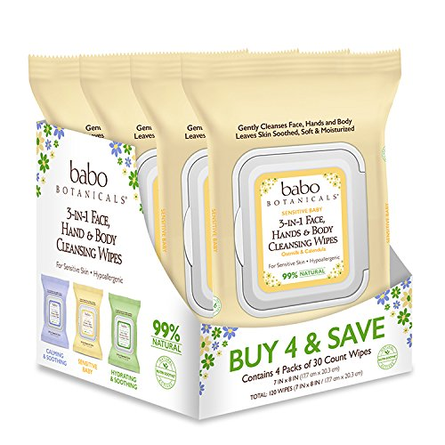 Babo Botanicals 3-in-1 Moisturizing Sensitive Baby Wipes for Face, Hands and Body, Oatmilk & Calendula, 30 Count (Pack of 4)