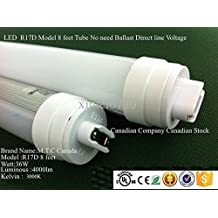 LED T8 8 Feet Tube Light R17D HO Model CUL Classified 36W 4000lm 6000K (Cool White),Advance Heat sink And More Luminous (Brightness) In Less Wattage ,No Need Ballast Direct line Voltage 100V-240V Extra Bright , Pack Of 20 Pcs Price Is $520.00 Each tube Will Cost $26.00 CAD For Sale Canadian Company Canadian Stock