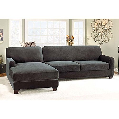 Sure Fit Stretch Pique 2 Piece With Left Side Chaise Sectional Slipcover    Black (