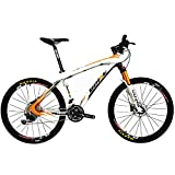BEIOU Carbon Fiber Mountain Bike Hardtail MTB Shimano M610 DEORE 30 Speed Ultralight 10.8 kg RT 26 Professional External Cable Routing Toray T800 Glossy Orange CB005 (Orange, 15-Inch)