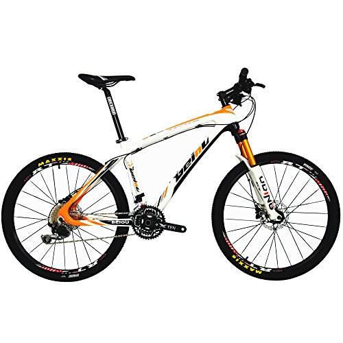BEIOU Carbon Fiber Mountain Bike Hardtail MTB SHIMANO M610 DEORE 30 Speed Ultralight 10.8 kg RT 26 Professional External Cable Routing Toray T800 Glossy Orange CB005 (Orange, 19-Inch)