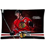 Custom Jonathan Toews Chicago Blackhawks Hockey Soft Zippered Pillowcases Pillow Case Cover Standard Size 20x30 Inch Two Sides Print