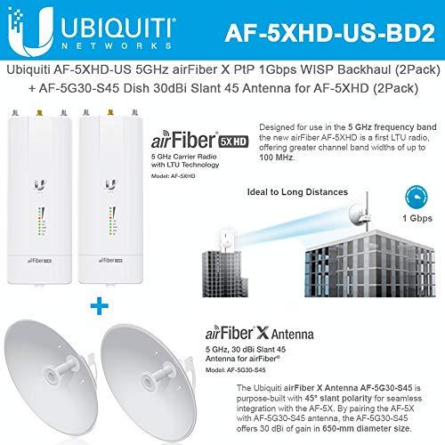 AF-5XHD US (x2) 5GHz airFiber X 1Gbps Backhaul with AF-5G30-S45 (x2) 30dBi Slant 45 Antenna (Best Iptv Service Provider)