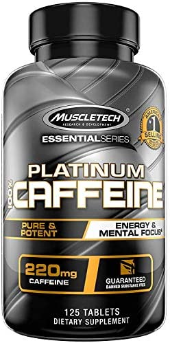 Muscletech Platinum 100 Caffeine Pill, Unflavored, 125 Count