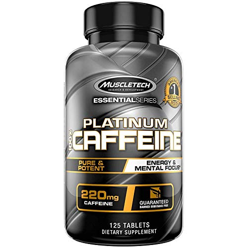 Muscletech Platinum 100% Caffeine Pill, Unflavored, 125 Count ()