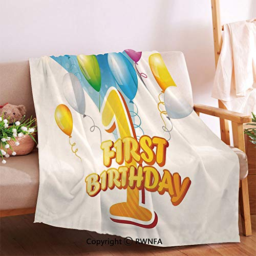 RWNFA First Party Theme Balloons with Abstract Blue Toned Image Printed Blanket.Living Room/Bedroom Warm Blanket(32