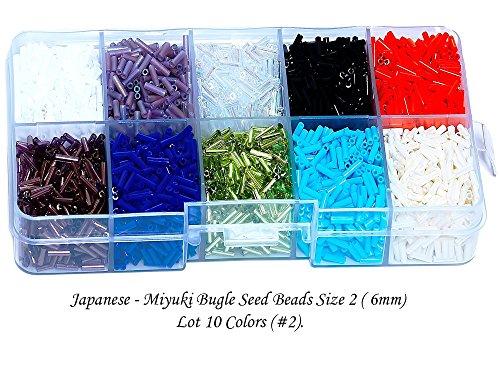 Beads Bugle Miyuki (Japanese - MIYUKI Bugle Seed Beads 125g, Size 2 (6mm) - 10 Colors with Storage Box (#2))