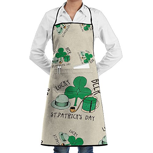 St. Patrick's Day Lucky Beer Mens And Womens Unisex Adjustable With Pockets Aprons For Chef
