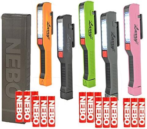 BUNDLE 5x NEBO Pocket Work Light LED Flashlight 1x Lucy 2 Pink, 1x Larry 2 Black, 1x Larry 2 Green, 1x Larry 2 Grey 1x Larry 2 Orange 6051, 6052, 6053, 6054, 6055