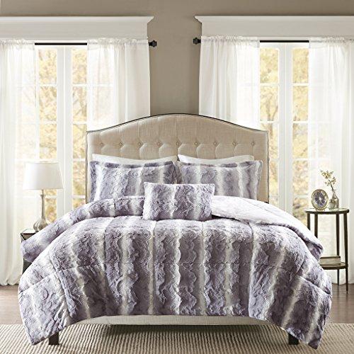 Madison Park Zuri Full/Queen Size Bed Comforter Set - Grey,