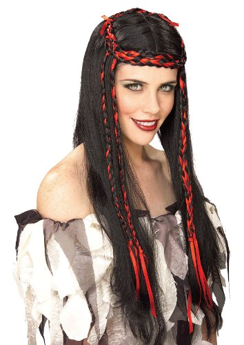 Black King Wig - Rubie's Maiden Princess Wig with Braids, Black/Red, One Size