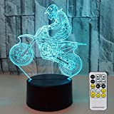 Night Lights for Kids Motocross Lamp 3D Night Light Bedside Lamp 7 Colors Changing with Remote Control Birthday Gifts for Boys Girls Kids Baby