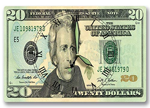 Andrew Jackson Money Clock United States Federal Reserve Series 2009 20 Dollar Bill 8 x 12 inch clock American Soldier Statesman President