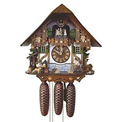 8-Day Black Forest House Cuckoo Clock w Stop Strike Device