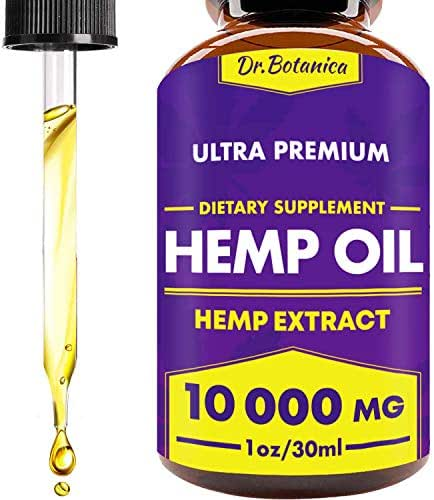 10 000 MG - Hemp Oil Drops - 100% Pure Natural Ingredients - Co2 Extracted - Anti-inflammatory - Help Reduce Stress, Anxiety and Pain - Vegan Friendly