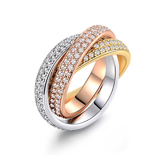 Barzel 18K Gold Plated Three-Tone & One Tone Swarovski Elements Crystal Rolling Rings (3-Tone, -