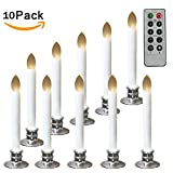 Set of 10 Window Candles Battery Operated LED Candle Lmaps, Flickering Flameless Candle Lights with Remote Timers for Christmas Decorations