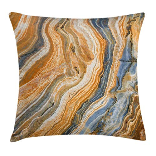 Ambesonne Marble Throw Pillow Cushion Cover by, Colorful Rock Quartz Surface Background Formation Abstract Picture, Decorative Square Accent Pillow Case, 24 X 24 Inches, Slate Blue Orange Apricot