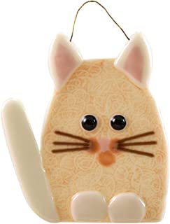 product image for Modern Artisans Whimsical Cat Fused Glass Sun Catcher, Handmade in USA (Beige/White)