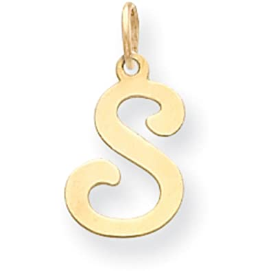 Amazon 14K Gold Polished Fancy Initial Letter S Charm Pendant