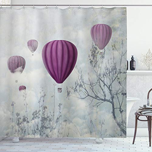 Ambesonne Fantasy House Decor Collection, Hot Air Balloons in the Clouds Dream Journey to Secret Paradise Romantic Design, Polyester Fabric Bathroom Shower Curtain, 84 Inches Extra Long, Blue Purple (Fabric Collection Paradise)