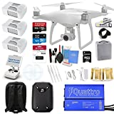 DJI Phantom 4 QuadCopter Drone Bundle Kit W/ Hardshell Backpack, 3 Total DJI Batteries and Everything You Can Think of Kit: 1x 64GB SD Card, SD Reader and More