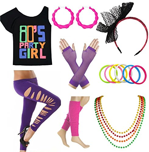80s Party Girl T-Shirt Costume Set