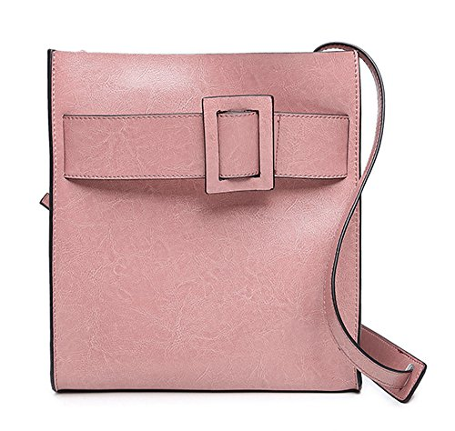 1 X Shoulder Bag For Women - Wax Leather / Retro Multifunctional / Crossbody Clutch Bag / Designer Handbag Big Ladies - Pink Black