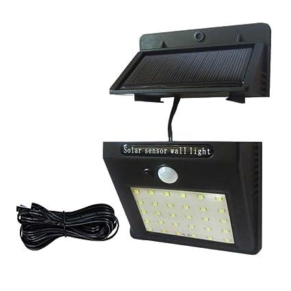 Mlec tech 30 LEDs Lámpara solar Desmontable Sensor de luz y Sensor de Movimiento Impermeable Lámpara