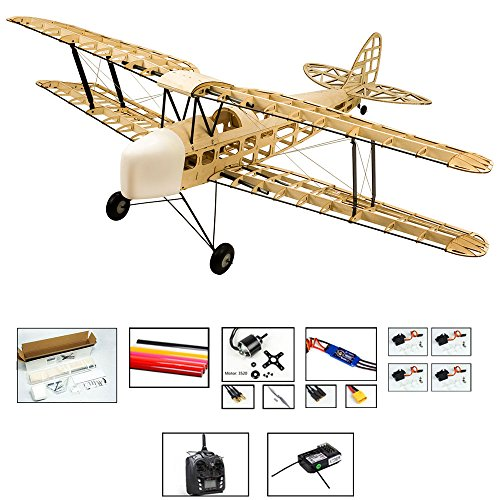 S09 RC Balsa wood EP & GP 1.4M De Havilland DH82a Tiger Moth Biplane by DW Hobby Balsa Laser-cutting Remote Control Aeroplane for Adults; RC Unassembled Flying Model for fun; (S0904B-L2) ()