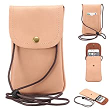 "Universal Cell Phone Cross-body Purse,Vertical Phone Shoulder Bag Soft PU Leather Carrying Cases for Apple iPhone 6s/6 Plus iPhone 6/6s,Samsung Galaxy S6 and Note Series and Phones Under 5.5""-Pink"