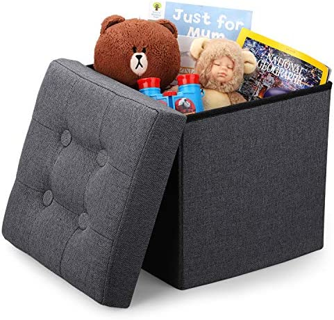 Vigamimn 12 inch Small Cube Ottoman Foot Rest Stool Short Foot Stools Foldable Tiny Ottoman Stool Linen Fabric Folding Storage Ottoman Thicker Foam Especially