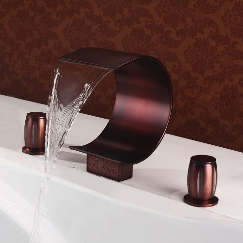 Waterfall Tub Faucet Two Handle Bathroom Basin Sink Widespread Tap (Curved Shape Design)