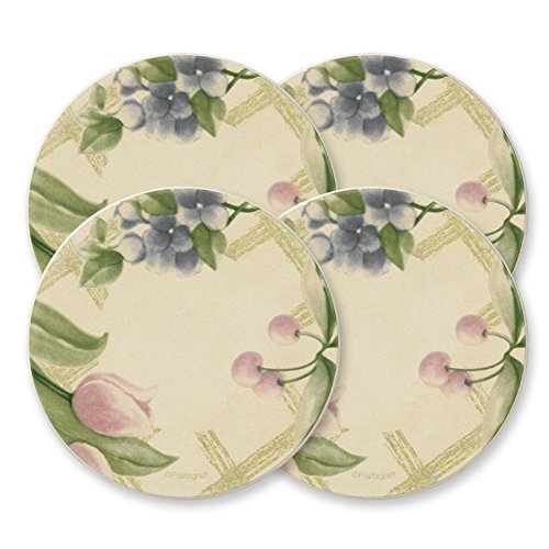 Pfaltzgraff Garden Party Naturestone Coasters, 4-Inch, Set of 4