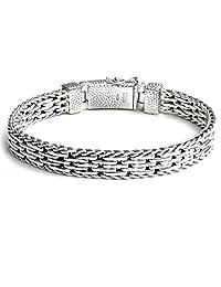Kham 8.9 MM Handwoven 925 Sterling Silver Mens Flat Link Bracelet Bali Style Braided Bracelet for Men